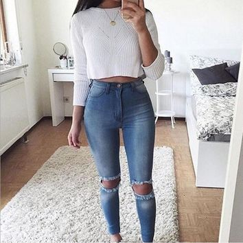 Women's Denim Skinny Ripped Pants Comfy High Waist Stretch Jeans Super Ripped Sexy Slim Full Length Pencil Trousers