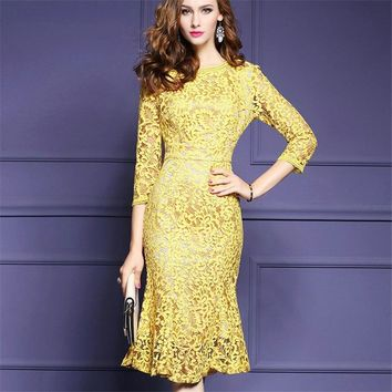 Female Dress Robe Womens Elegant Delicate Lace Dress 2018 Spring Party Evening Mermaid Bodycon Bridesmaid Mother Of Bride Aa536