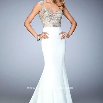 Long Beaded La Femme Dress 22131