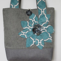 Turquoise Grey Womens Tote Bag, Large Shoulder Bag, Turquoise Handmade Fabric Bag, Grey Leather Tote Bag, Turquoise Tote, Shoulder Bag, Tote