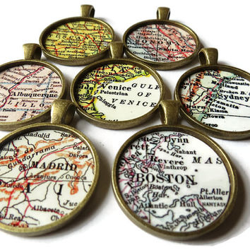 CUSTOM map jewelry, Bronze pendant charms, custom map necklace charms