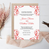 Damask Wedding Invitation Template - Coral Flourish Damask Printable Wedding Invitation Editable PDF Template Download - DIY You Print