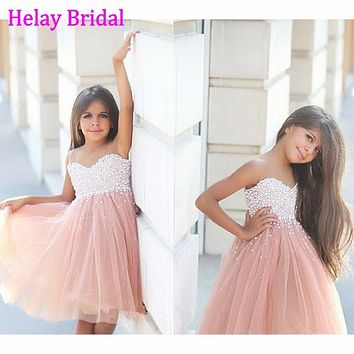 Luxury Tulle Beading Crystal Pearls Champagne Color Flower Girl Dresses 2016 Girl Birthday Prom Dress Kids Pageant Gowns