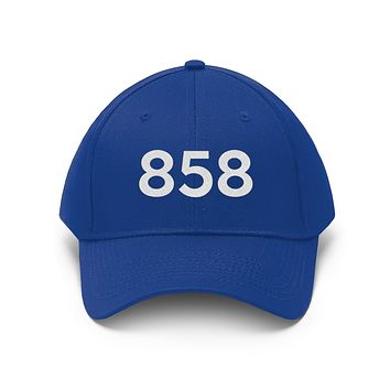 California 858 Area Code Embroidered Twill Hat