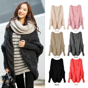 Women Oversized Loose Knitted Sweater Batwing Sleeve Tops Cardigan Outwear Coat