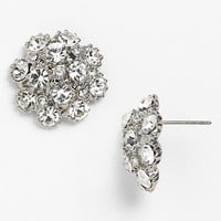Women's Nina 'Shirley' Cluster Stud Earrings - Silver/ Clear