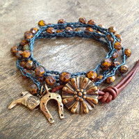 Boho Country Lucky Cowboy Knotted Crochet Wrap Bracelet, Necklace by Two Silver Sisters