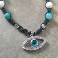 Blue Evil Eye, Quartz Encrusted Pendant, Black Hemp Necklace, Trendy, Moonstone, Czech Glass, Onyx, Gift for Her, Free Shipping in USA