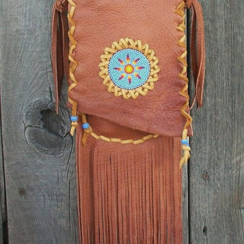 Fringed hippie handbag Bohemian gypsy crossbody purse with beaded sunburst Handmade leather purse