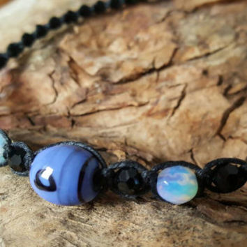 Hemp Necklace, Handmade Jewelry, Glass Beads, Gift, Hemp Jewelry, Opalite, Gift for Her, Hemp, Minimalist, Handmade Necklace, Black Hemp