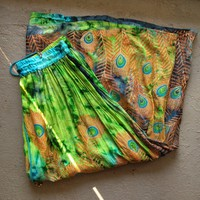 Peacock Feathers Hippie Skirt