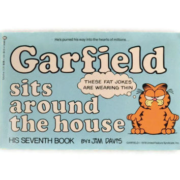 Vintage 1983 Garfield Sits Around The House His Seventh Book By Jim Davis, Vintage Garfield Book, Funny Garfield Comics