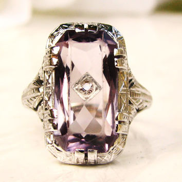 Antique Art Deco Amethyst Engagement Ring 18K White Gold Filigree Petite Diamond Wedding Ring Antique Alternative Engagement Ring!