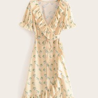 Gingham And Floral Print Ruffle Trim Wrap Dress