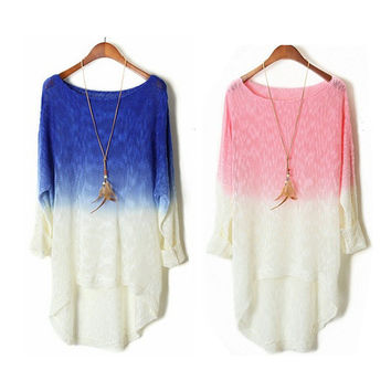 Long Sleeve Ombre Dip Dye Sweater