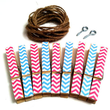 Gender Reveal Party Decor Banner Photo Display Clothesline Kit Decorative Pink & Blue Chevron Clothespins Boy Girl Baby Shower Pregnancy
