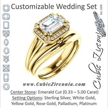CZ Wedding Set, featuring The Wanda Lea engagement ring (Customizable Emerald Cut Halo-style with Ultrawide Tri-split Band & Peekaboo Accents)