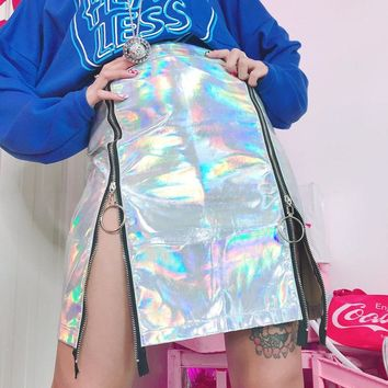 Holographic High Waist A-Line Skirt
