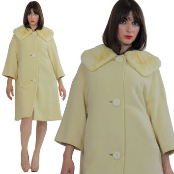 Wool Cashmere coat swing blonde mink swing coat fur collar Vintage 1960s Mad men cocktail party Marilyn winter white retro Small Medium
