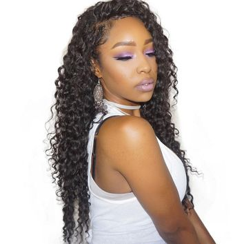 "Deep Wave 360 Lace Frontal Closure Pre Plucked With Adjustable Band 10-20"" Brazilian Virgin Hair Nature Color Sunny Queen"
