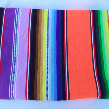 Neon mexican blanket/ vintage multi color stripe sarape/ bohemian hippie ethnic decor