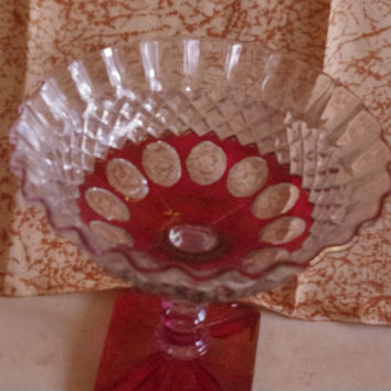 Vintage Westmoreland Glass Wakefield Flashed Ruby Red Compote Candy Dish