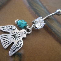 Thunderbird Belly Button Ring Jewelry Turquoise by Azeetadesigns