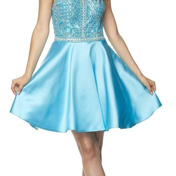 Juliet 779 Turquoise Embellished Bodice Short Prom Dress Sleeveless