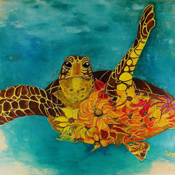 Sea turtle painting with Sunflowers Fantasy Turtle Art Sunflower Painting Birchwood Art 18x24 Free Shipping Beach Art