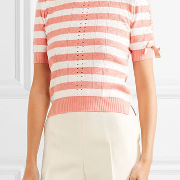 Fendi - Lace-up striped pointelle-knit top