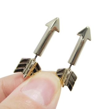 Fake Gauge Earrings: Realistic Arrow Shaped Faux Plug Stud Earrings in Shiny Gold