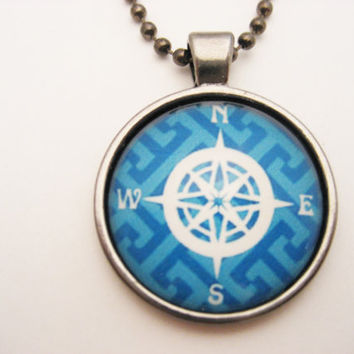 Blue Compass Necklace Nautical Necklace Nautical Jewelry  Gifts Under 20 Ocean Necklace Compass Jewelry Compass Rose