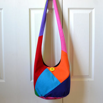 Color Block Hobo Bag, Sling Bag, Patchwork, Upcycled, Solid Colors, Bright, Colorful, Hippie Purse, Crossbody Bag