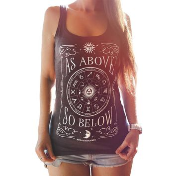 Summer Women Tank Top AS ABOVE Sun And Moon Printed T Shirt Sleeveless Fashion Loose Street Graphic Tank Top Camisole