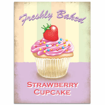 Strawberry Cupcake Freshly Baked Bakery Sign