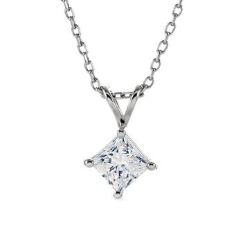 1/2 Ct Princess Diamond Solitaire Necklace in 14k White Gold, 18 Inch