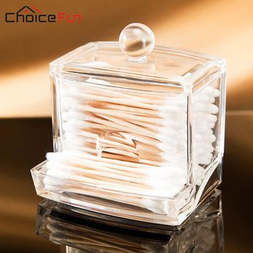CHOICE FUN Small Clear Acrylic Q-tip Cotton Swab Holder Bathroom Storage Box Cute Cotton Bud Cosmetic Makeup Organizer With Lid