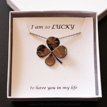 Real Leaf Jewelry, Real Four Leaf Clover Pendant Necklace - Genuine/Lucky 4 Leaf Clover Electroplated in Platinum, Unique gift