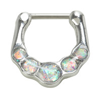 16G Steel White Opal Septum Clicker
