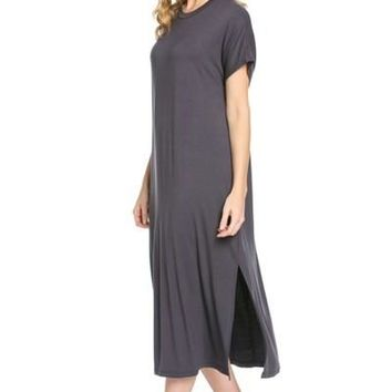 """Solid Knit Midi Dress"""