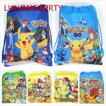20pcs 34*27cm  Go non-woven bag fabrics drawstring backpack,schoolbag gift bagsKawaii Pokemon go  AT_89_9