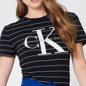Calvin Klein Women's Cotton Stripe Tee Shirt
