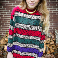 Vintage Tribal Striped Oversized Blouse
