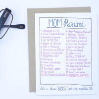 Mom Resume - Funny Mother's Day Card - Domestic Goddess