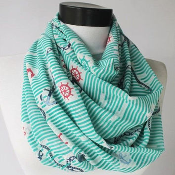 anchor mint scarf,print scarf,long scarf,scarves,infinity scarf,scarf,