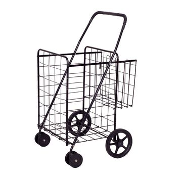 Goplus Folding Shopping Cart Jumbo Double Basket Perfect for Grocery Laundry Book Luggage Travel W/ Swivel Wheels