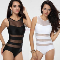 2014 Plus Size ladies sexy one piece swimsuit bandage cut out open monokini women swimwear bathing suit black white SV002410