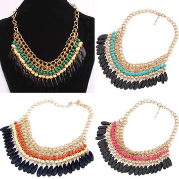 Bohemian Hot Vintage Stylish Layered Beads Tassel Choker Bib Gold Necklace
