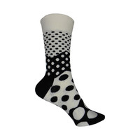 Divided Dot Crew Socks in Black and White