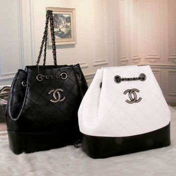 Chanel Women Shopping Bag Leather Shoulder Bag Daypack Backpack